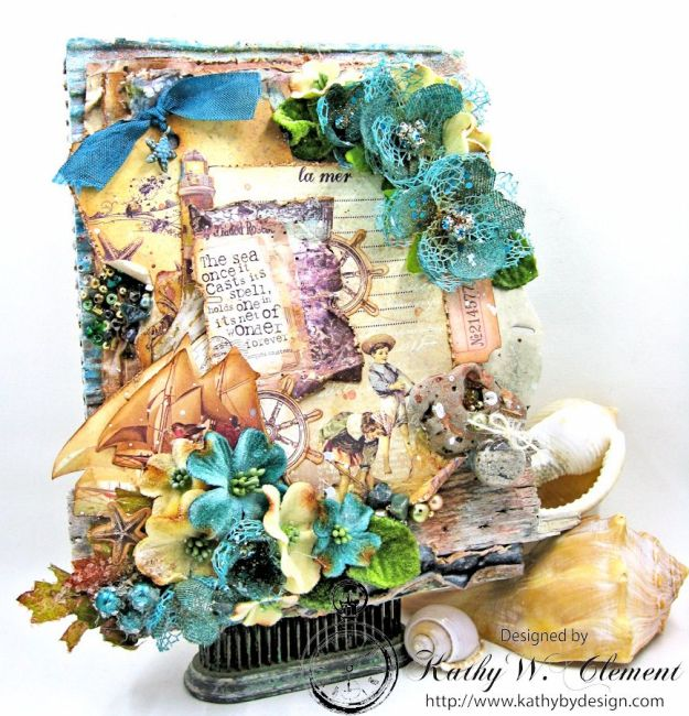 Friday Focus French Riviera Mixed Media Collage by Kathy Clement for The Funkie Junkie Boutique 01