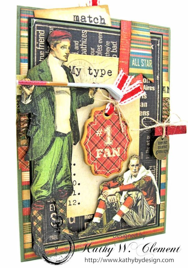 Graphic45 Good Old Sport Masculine Pocket Card by Kathy Clement for Really Reasonable Ribbon Masculine Challenge 02