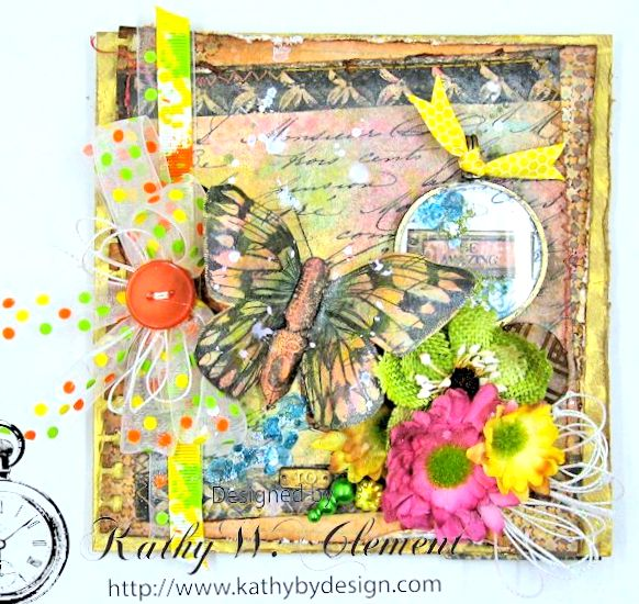 Mixed Media Butterfly Card Tutorial by Kathy Clement Canvas Corp Brands Mixed Media Papers and RRR June 2016 Ribbon Club Collection 02