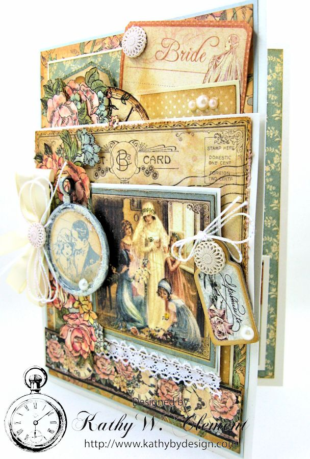 Pastels and Pearls  Wedding Card for Frilly and Funkie,  Graphic 45 Ladies' Diary Wedding Card by Kathy Clement 01