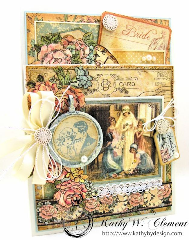 Pastels and Pearls  Wedding Card for Frilly and Funkie, Graphic 45 Ladies' Diary Wedding Card by Kathy Clement 02