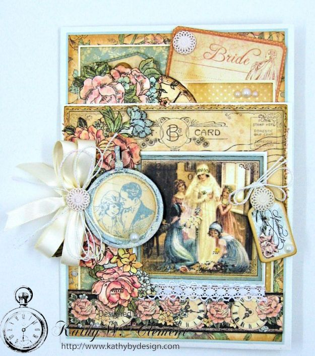 Pastels and Pearls  Wedding Card for Frilly and Funkie,  Graphic 45 Ladies' Diary Wedding Card by Kathy Clement 05