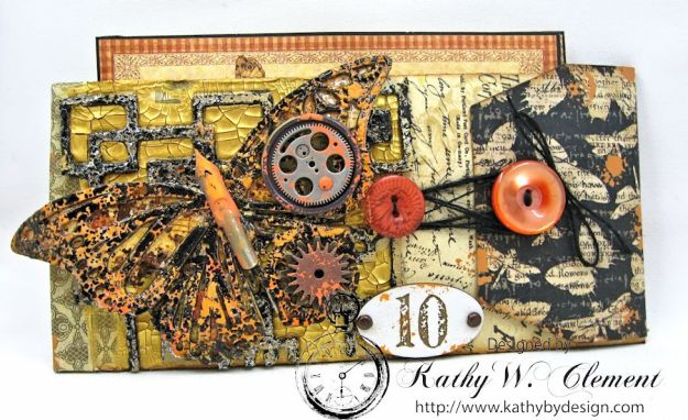 GSL Steampunk Butterfly Gift Wallet  Tutorial by Kathy Clement for Gypsy Soul Laser Cuts Product by Graphic 45 DIY and Botanicabella Papers 01