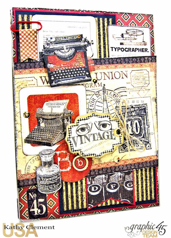 Masculine Belated Birthday Card Communique by Kathy Clement Product by Graphic 45 Photo 1