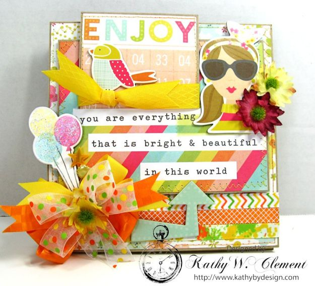 Simple Stories Sunshine and Happiness Easel Card by Kathy Clement for Really Reasonable Ribbon 01a