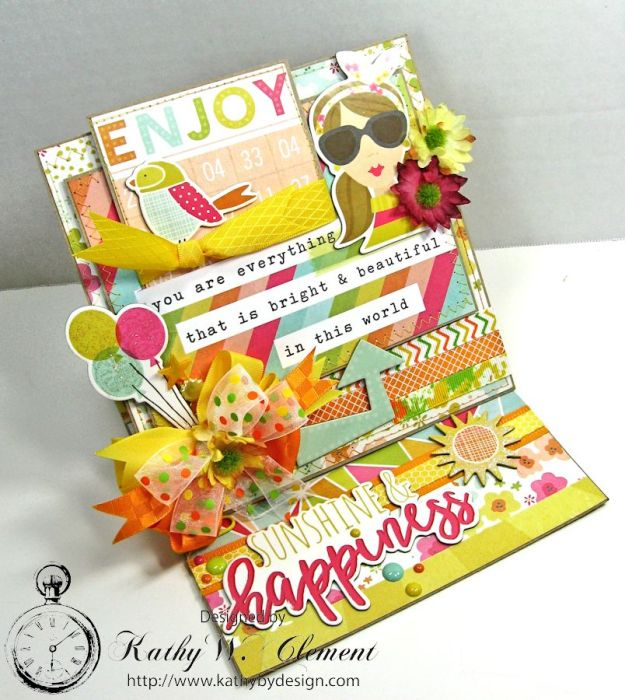 Simple Stories Sunshine and Happiness Easel Card by Kathy Clement for Really Reasonable Ribbon 07
