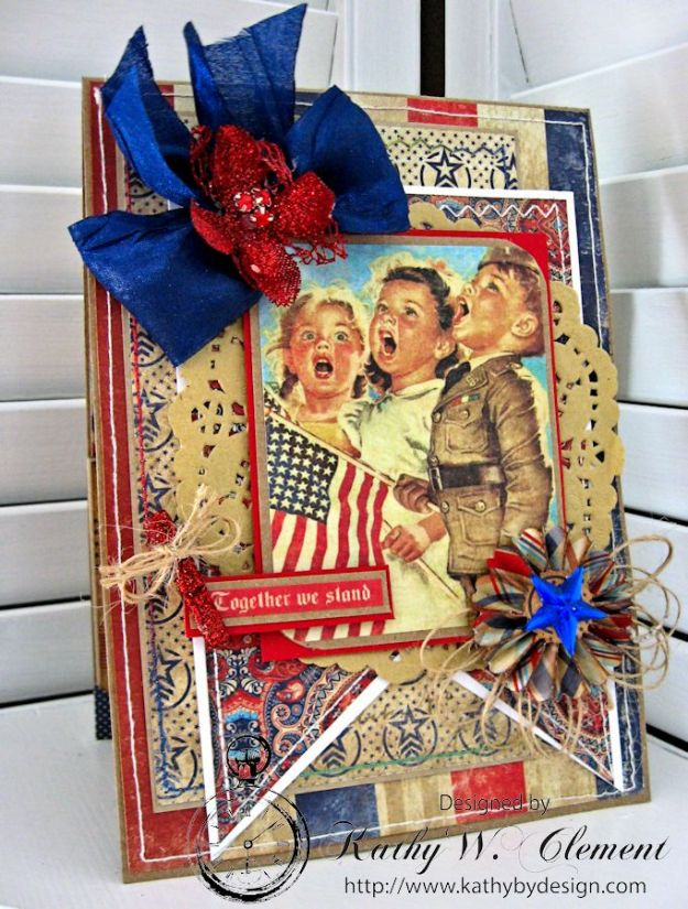 Together We Stand 4th of July Card by Kathy Clement for Petaloo International Product Authentique Honor Photo 2