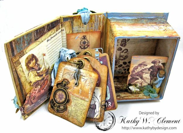 By the Sea Altered Graphic 45 ATC Book Box by Kathy Clement for Frilly and Funkie By the Sea Challenge, Product by Prima French Riviera and Graphic 45 Photo 10