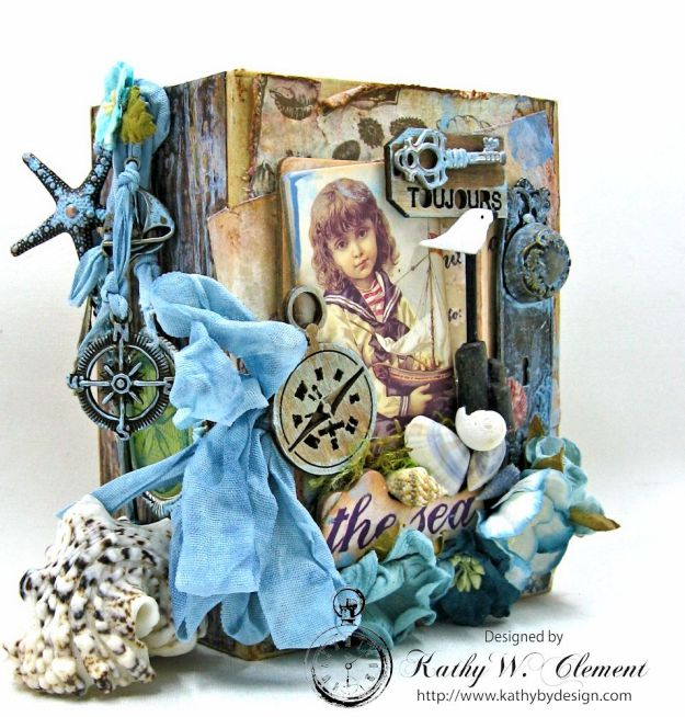 By the Sea Altered Graphic 45 ATC Book Box by Kathy Clement for Frilly and Funkie By the Sea Challenge, Product by Prima French Riviera and Graphic 45 Photo 2
