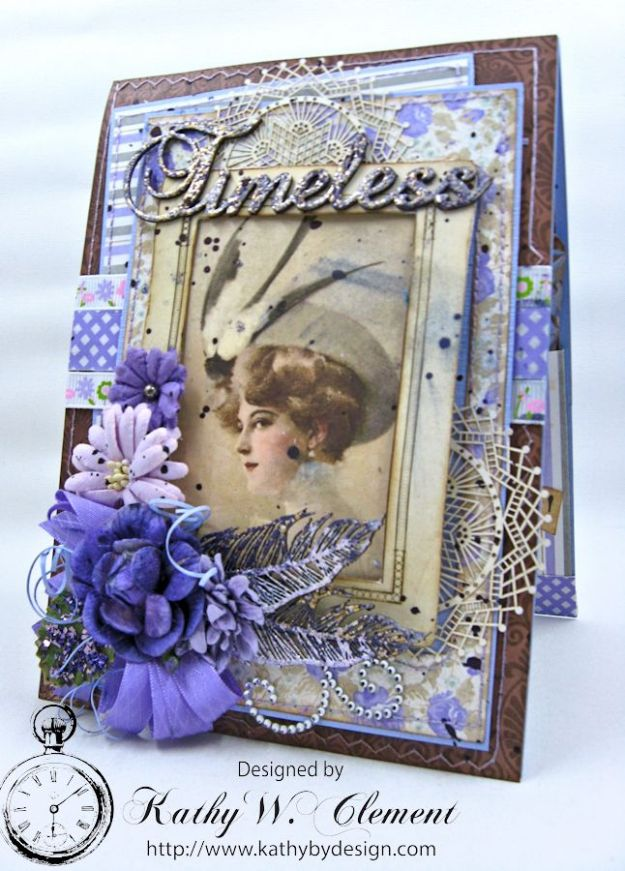 Lady in Purple Pocket Card by Kathy Clement for Really Reasonable Ribbon Pink and Purple Challenge Product Bo Bunny Penny Emporium Photo 2
