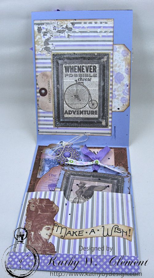 Lady in Purple Pocket Card by Kathy Clement for Really Reasonable Ribbon Pink and Purple Challenge Product Bo Bunny Penny Emporium Photo 4