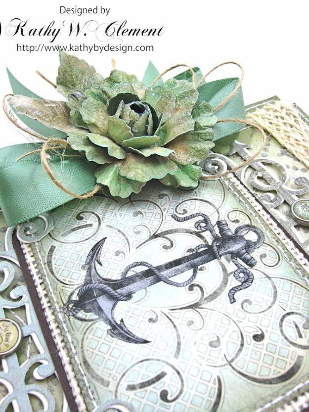 Nautical Rose Tutorial Card by Kathy Clement for Heartfelt Creations July 2016 Alumni Hop product by Really Reasonable Ribbon and Heartfelt Creations Photo 2