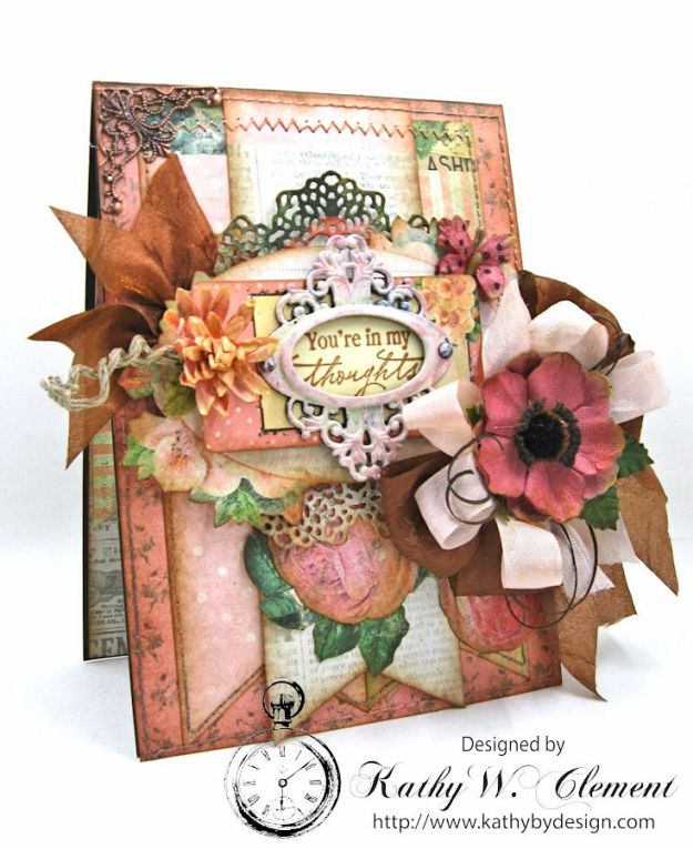 You're in My Thoughts Pocket Card by Kathy Clement for Really Reasonable Ribbon Product by Prima Something Blue Photo 1
