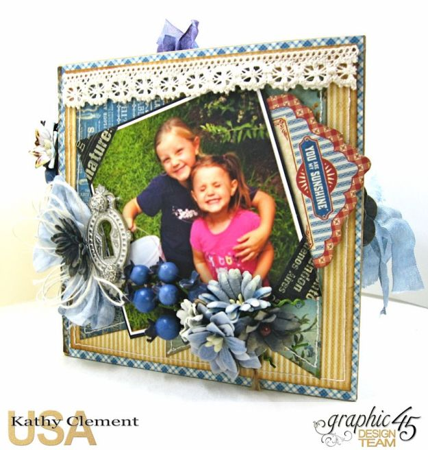 Blueberry Delight Mini Album Tutorial, Home Sweet Home, Staples Square Tag Album, by Kathy Clement, Product by Graphic 45 Photo9 14