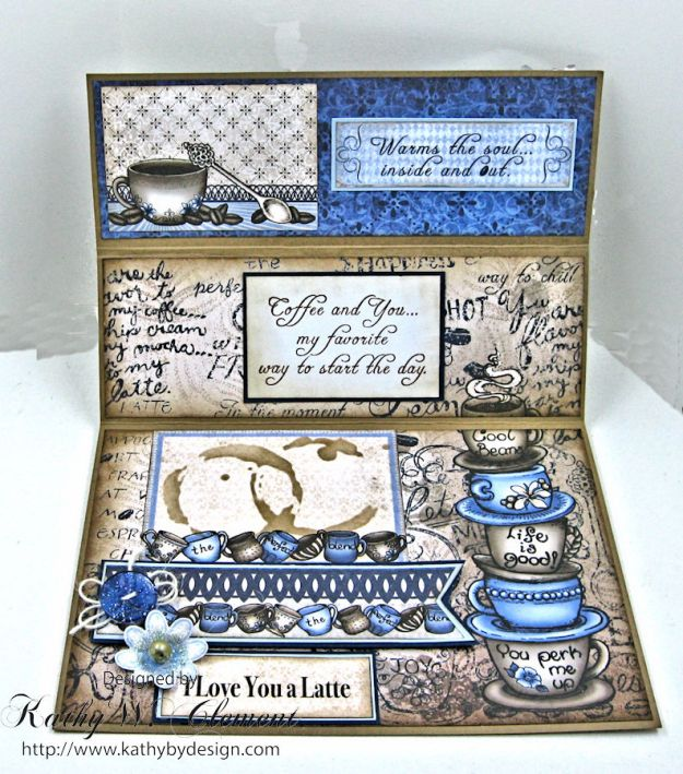Coffee Talk Easel Card Tutorial, Coffee Talk, by Kathy Clement, Product by Heartfelt Creations Photo 3