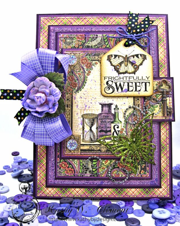 Frightfully Sweet Halloween Card, Rare Oddities, by Kathy Clement for Really Reasonable Ribbon, Product by Graphic 45 Photo 2