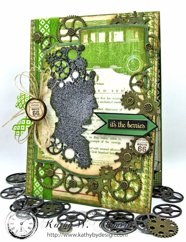 Steampunk Ideas Man Birthday Card by Kathy Clement for Really Reasonable Ribbon, Product Times Nouveau by Graphic 45, Really Reasonable Ribbon, Gypsy Soul Laser Cuts Gears, Photo 1