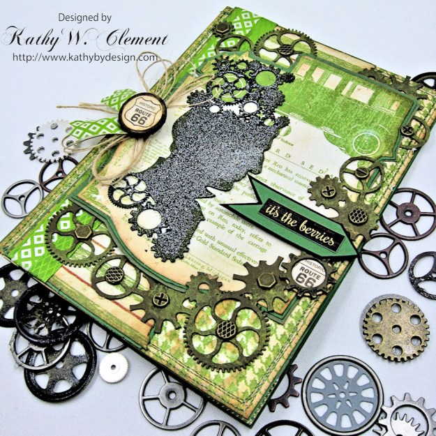 Steampunk Ideas Man Birthday Card by Kathy Clement for Really Reasonable Ribbon, Product Times Nouveau by Graphic 45, Really Reasonable Ribbon, Gypsy Soul Laser Cuts Gears, Photo 4