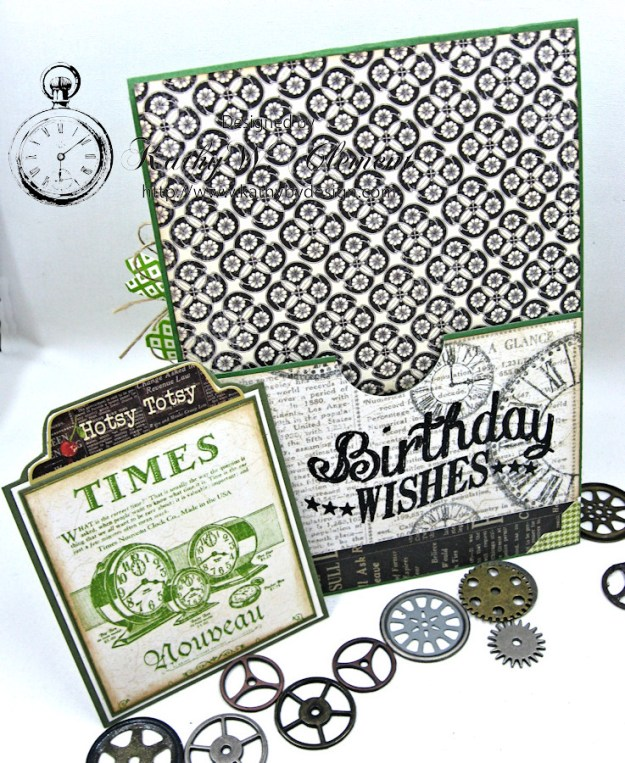 Steampunk Ideas Man Birthday Card by Kathy Clement for Really Reasonable Ribbon, Product Times Nouveau by Graphic 45, Really Reasonable Ribbon, Gypsy Soul Laser Cuts Gears, Photo 6