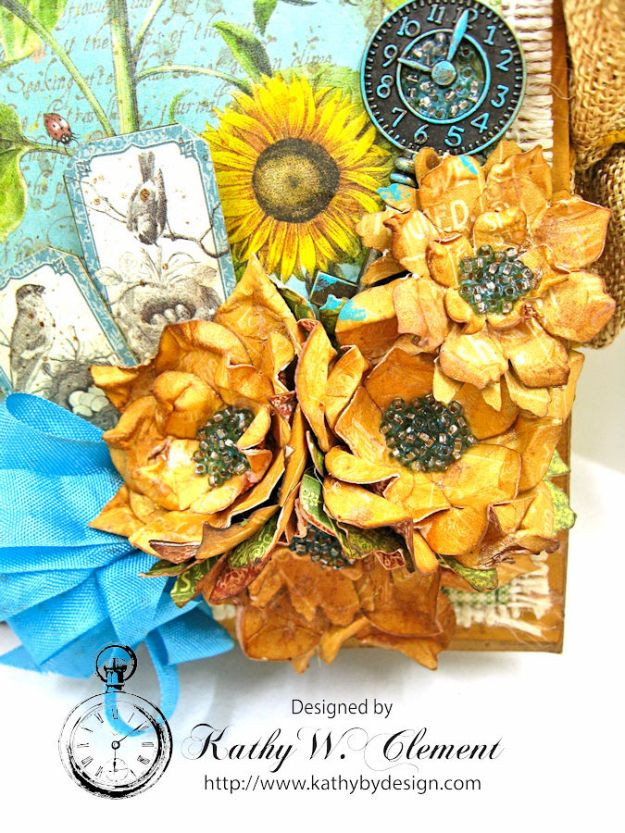Sunflowers Mini Album, Time to Flourish, by Kathy Clement for Frilly and Funkie Floral Infatuation Challenge, Product by Graphic 45, Photo 2