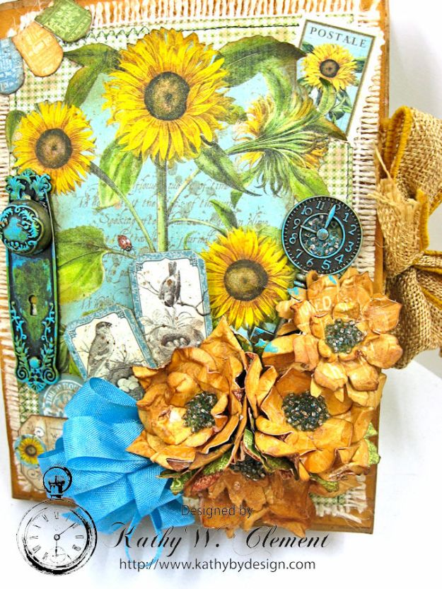Sunflowers Mini Album, Time to Flourish, by Kathy Clement for Frilly and Funkie Floral Infatuation Challenge, Product by Graphic 45, Photo 3