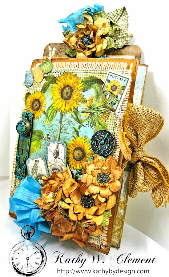 Sunflowers Mini Album, Time to Flourish, by Kathy Clement for Frilly and Funkie Floral Infatuation Challenge, Product by Graphic 45, Photo 5