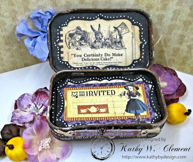 Altered Altoids Tin, Halloween in Wonderland, by Kathy Clement for Gypsy Soul Laser Cuts, Product by Graphic 45, Photo 4