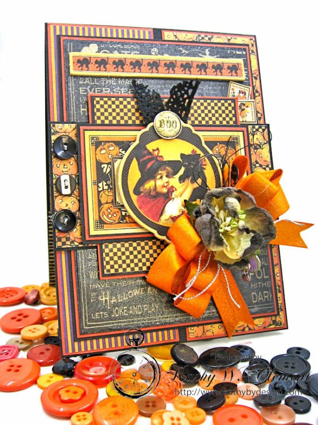 Jolly Halloween Wishes Card, Happy Hauntings, by Kathy Clement for Really Reasonable Ribbon, Product by Graphic 45, Photo 8