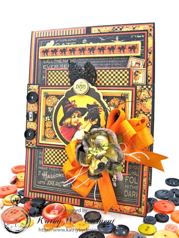 Jolly Halloween Wishes Card, Happy Hauntings, by Kathy Clement for Really Reasonable Ribbon, Product by Graphic 45, Photo 7