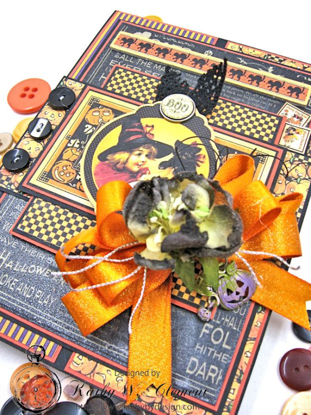 Jolly Halloween Wishes Card, Happy Hauntings, by Kathy Clement for Really Reasonable Ribbon, Product by Graphic 45, Photo 6