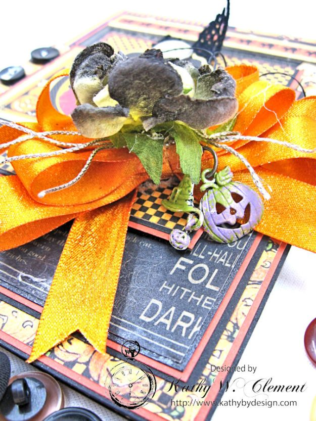 Jolly Halloween Wishes Card, Happy Hauntings, by Kathy Clement for Really Reasonable Ribbon, Product by Graphic 45,, Photo 5