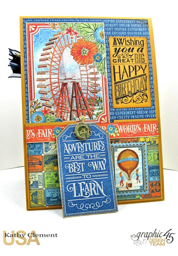 Ladies and Gents Birthday Card Tutorial, World's Fair, by Kathy Clement, Product by Graphic 45 Photo 11