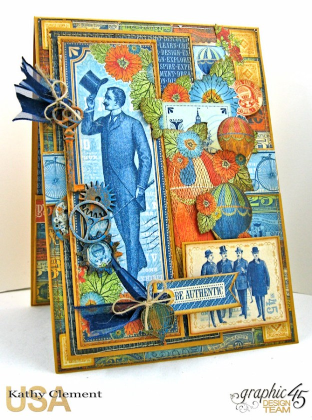 Ladies and Gents Birthday Card Tutorial, World's Fair, by Kathy Clement, Product by Graphic 45 Photo 2