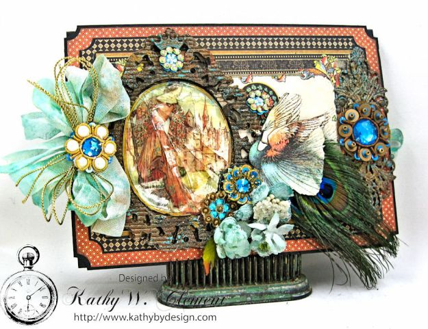The Princess and the Peacock Box Card, Enchanted Forest, by Kathy Clement for Frilly and Funkie Things with Wings Challenge, Product by Graphic 45, Photo 2