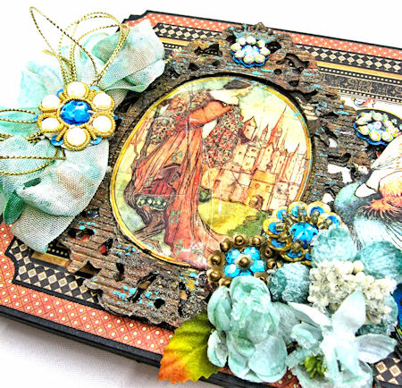 The Princess and the Peacock Box Card, Enchanted Forest, by Kathy Clement for Frilly and Funkie Things with Wings Challenge, Product by Graphic 45, Photo 6