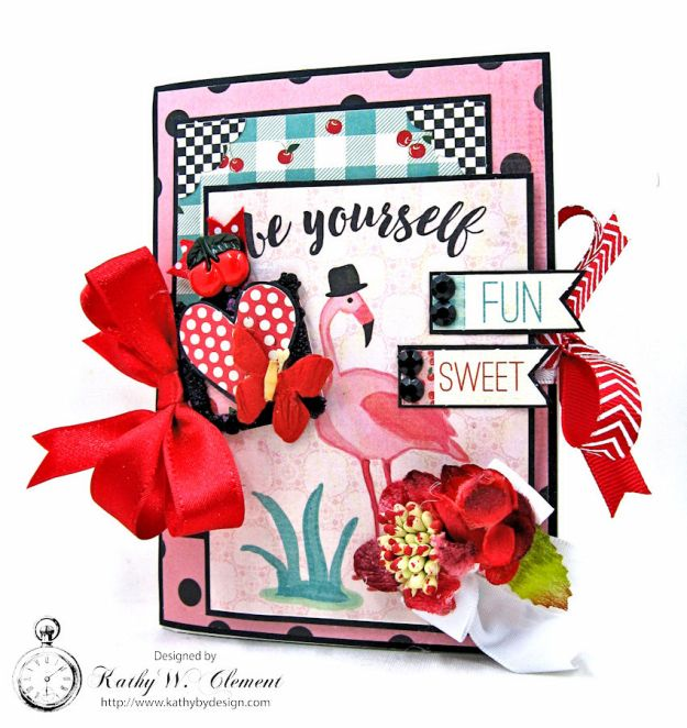 Pink Flamingo Valentines Day Mini File Folder by Kathy Clement, Photo 2