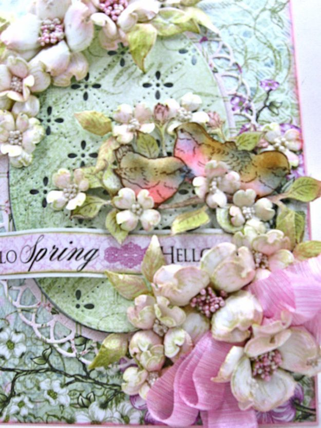 Hello Spring Flowering Dogwood Card by Kathy Clement for Heartfelt Creations Alumni Hop February 2017 Photo 3