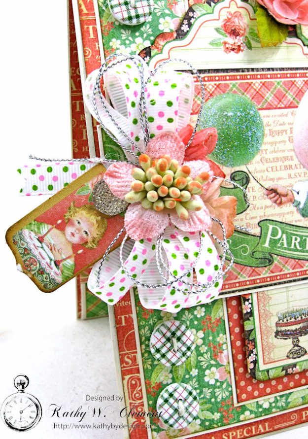 Graphic 45 Shabby Chic Birthday Celebration Card by Kathy Clement for Really Reasonable Ribbon Photo 2