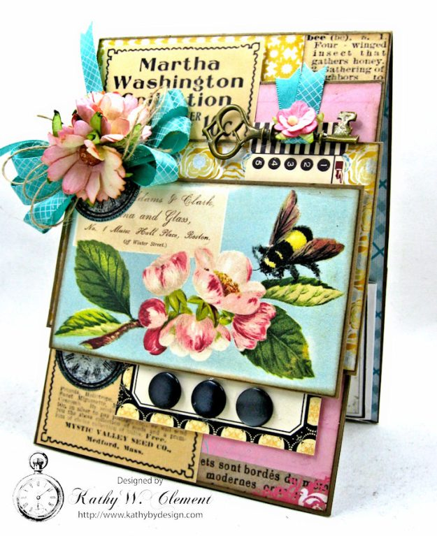 Busy Bee Greeting Card with Pockets by Kathy Clement for Really Reasonable Ribbon Photo 1