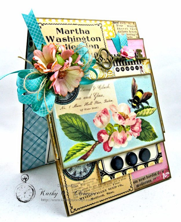 Busy Bee Greeting Card with Pockets by Kathy Clement for Really Reasonable Ribbon Photo 2