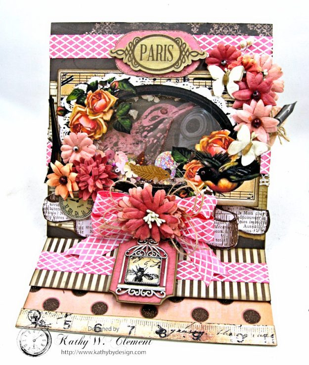 Paris Birds Shaker Easel Card By Kathy Clement for Put a Bow on it Challenge at Really Reasonable Ribbon Photo 3