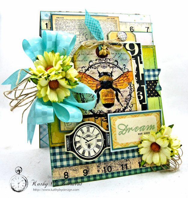 Dream Out Loud Honeybee Greeting Card by Kathy Clement for Really Reasonable Ribbon Photo 1