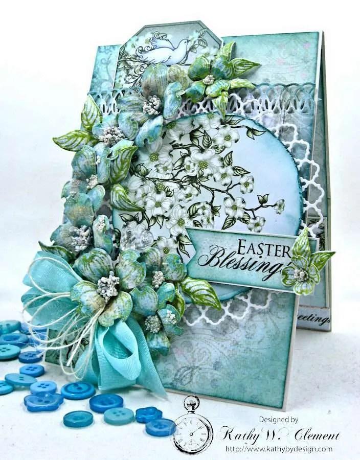 Aqua Flowering Dogwoods Easter Card Tutorial by Kathy Clement for Heartfelt Creations Alumni Hop