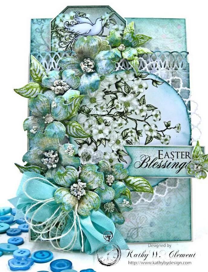 Aqua Flowering Dogwoods card by Kathy Clement for Heartfelt Creations Alumni Team Photo 1