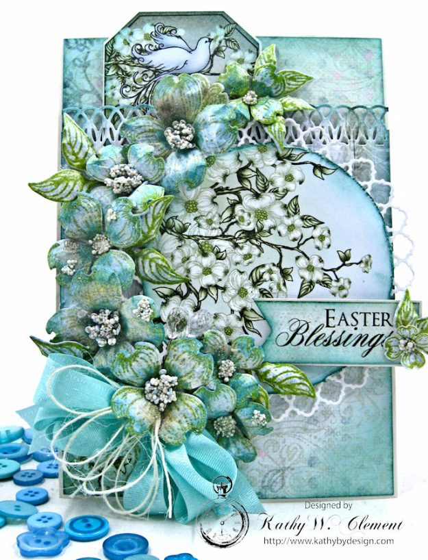 Aqua Flowering Dogwood Easter Card Tutorial by Kathy Clement for Heartfelt Creations Alumni Hop Photo 1