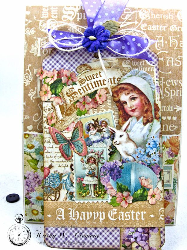 Shabby Chic Easter Greetings Card with Pockets & Tags by Kathy Clement for Really Reasonable Ribbon Photo 10
