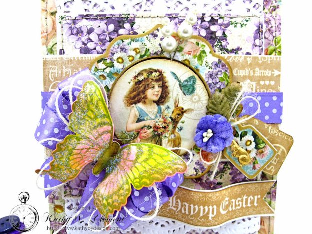 Shabby Chic Easter Greetings Card with Pockets & Tags by Kathy Clement for Really Reasonable Ribbon Photo 4