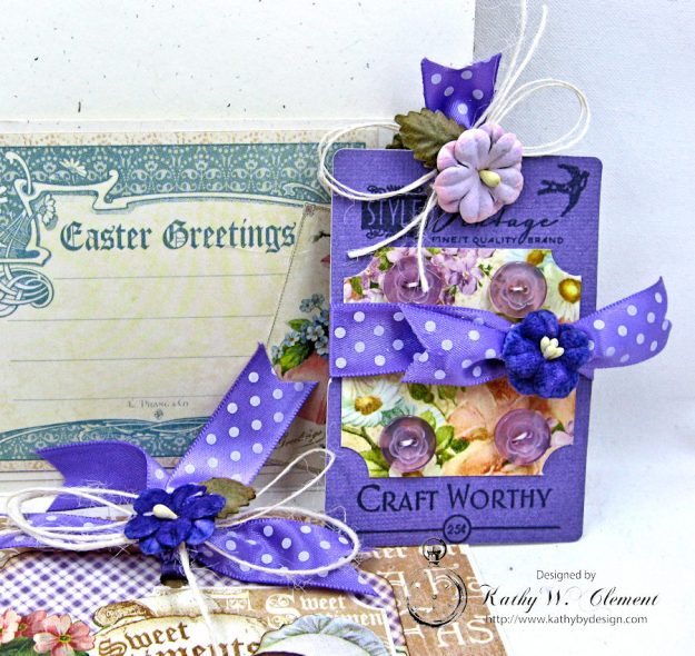 Shabby Chic Easter Greetings Card with Pockets & Tags by Kathy Clement for Really Reasonable Ribbon Photo 7
