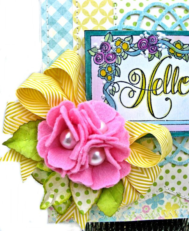 Hello Springtime Card with Felt Flowers by Kathy Clement for Tammy Tutterow Designs Photo 3