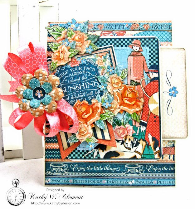 Graphic 45 Cafe Parisian Keep Your Face Toward the Sunshine Card by Kathy Clement for Really Reasonable Ribbon Photo 1